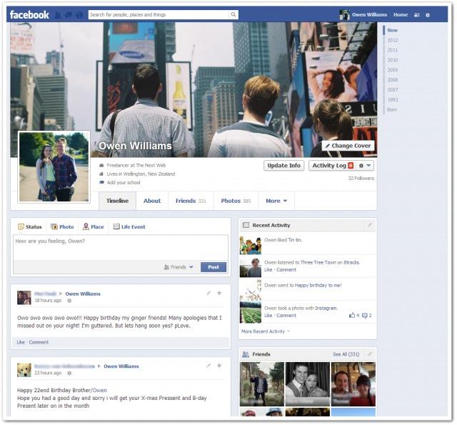facebook timeline update